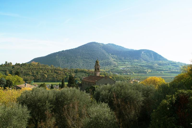 Euganean hills panorama of the arch-petrarch royalty free stock image