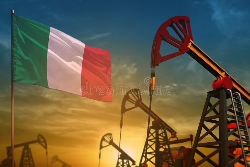 Italy oil industry concept. Industrial illustration - Italy flag and oil wells against the blue and yellow sunset sky background. Italy oil industry concept royalty free stock images