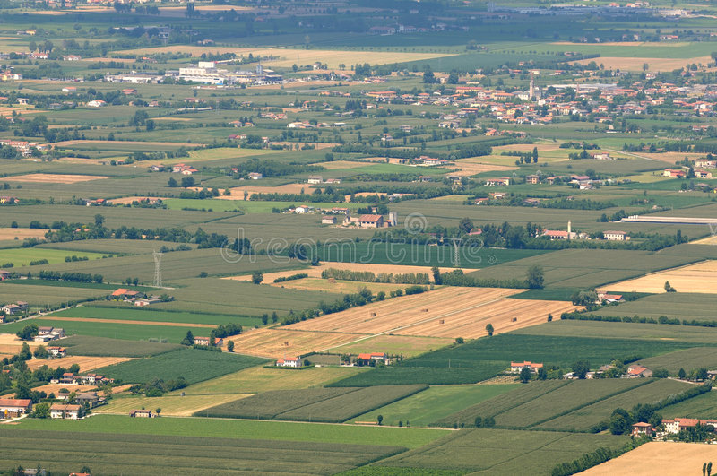 Italy: Padana Valley. Aerial view of Northern Italy Padana Valley during summer royalty free stock photo