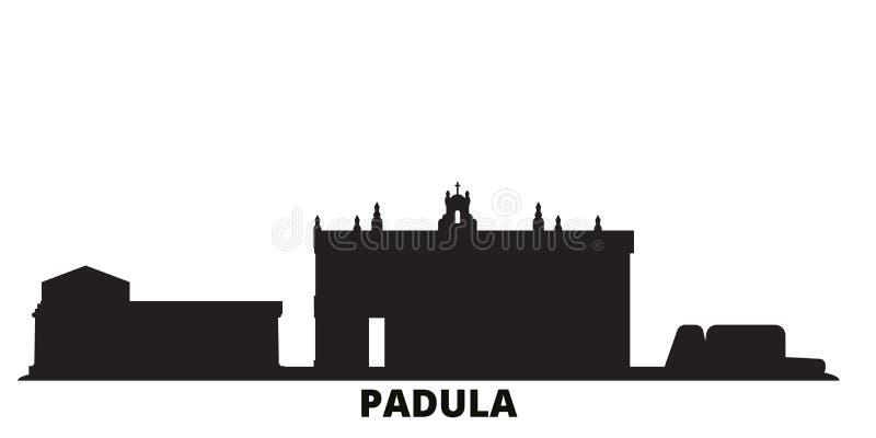 Italy, Padula city skyline isolated vector illustration. Italy, Padula travel black cityscape royalty free illustration