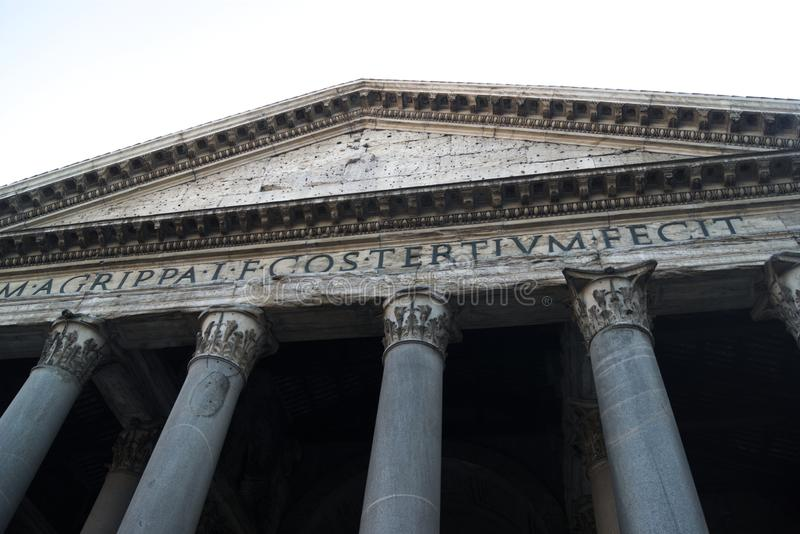 Italy, the Pantheon in Rome. A 2000 year old Ancient Roman structure that survives, intact, to this day.  Simple but elegant, the building stands proud royalty free stock photo