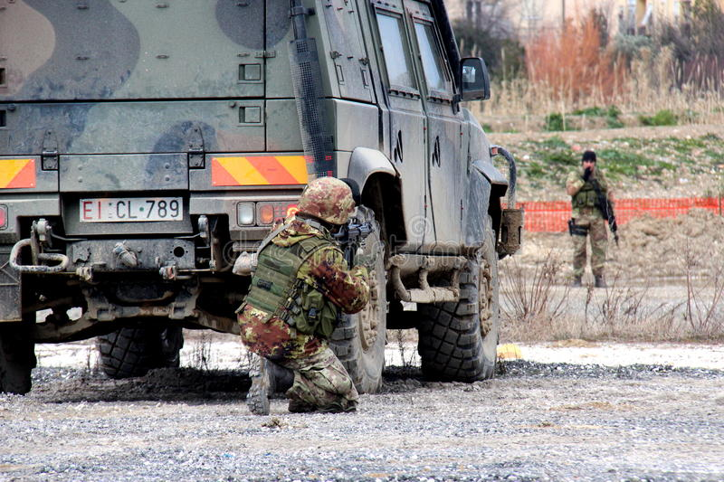 Italy, paratroopers military exercises department stock photos