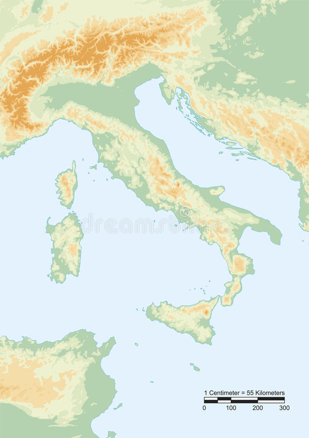 Italy Physical Stock Vector Image Of National Physical - Map of italy physical