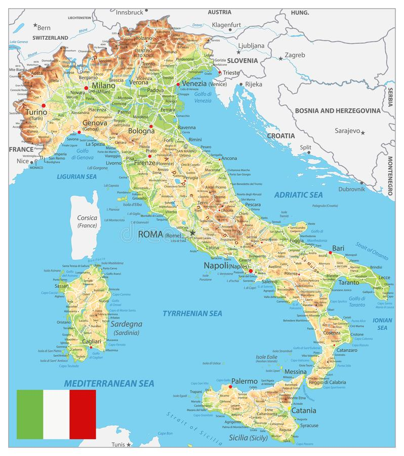 Italy Physical Map stock vector Illustration of territory 100455474