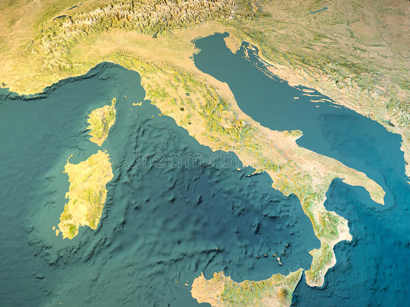 Italy, physical map, satellite view, map, 3d rendering stock illustration