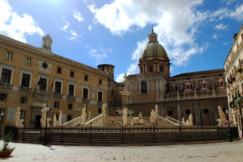 italy piazza Palermo Pretoria Sicily obrazy stock