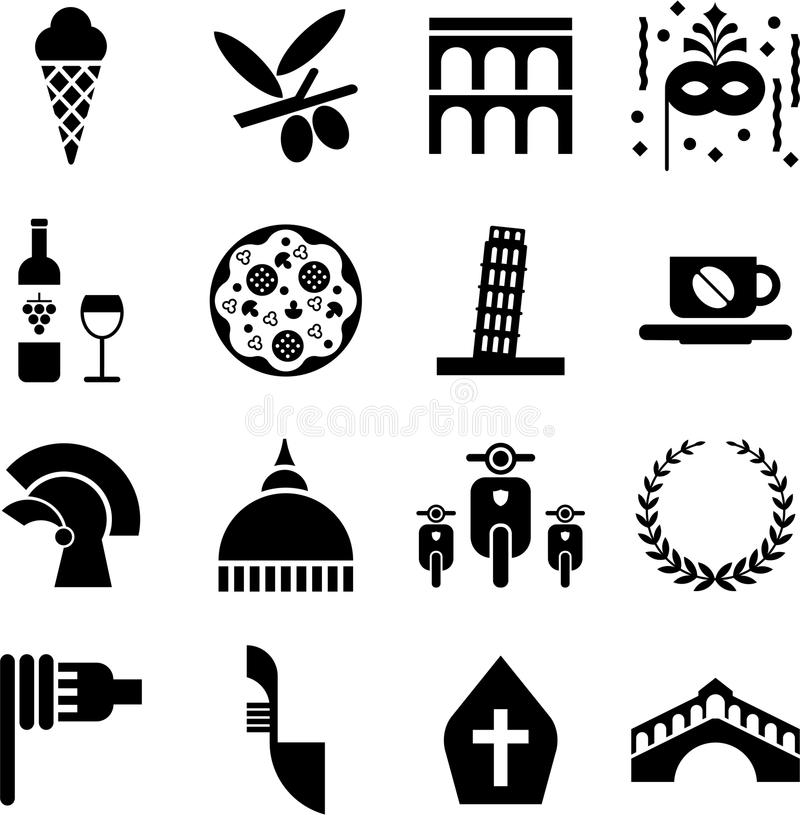 Italy pictograms. Some pictograms representing Italy and its traditions royalty free illustration