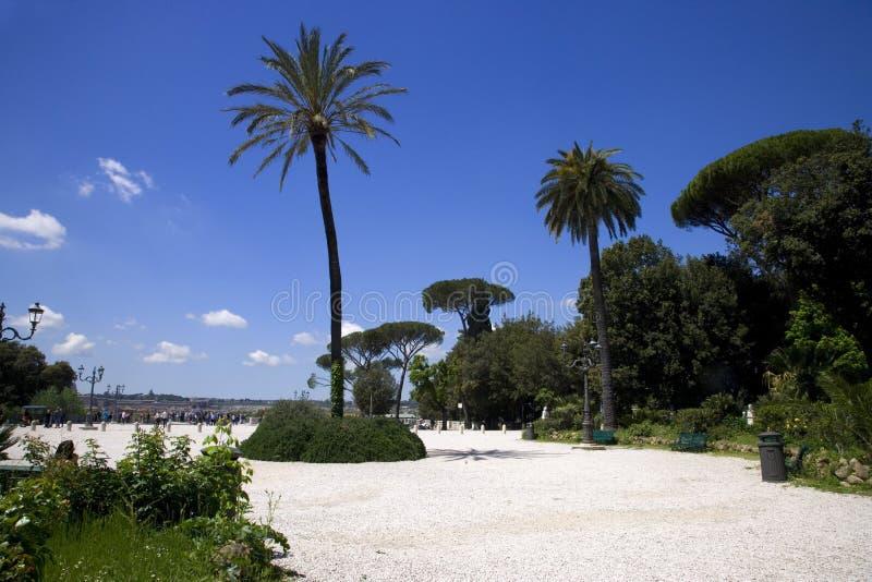 Italy pincho hill landscape Park Rome Villa Borghese spring Palma royalty free stock photo