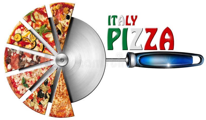 Italy Pizza on Cutter for Pizza. Pizza slices on the stainless steel pizza cutter and written Italy Pizza vector illustration