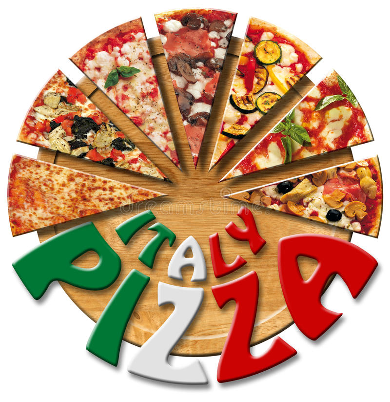 Italy Pizza on the cutting board vector illustration
