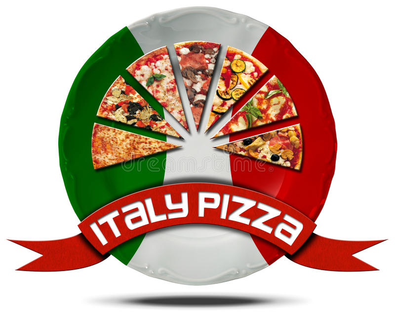 Italy Pizza - Plate with Flag. Icon or symbol with slices of pizza on a plate with Italian flag and red ribbon with text italy pizza. Isolated on white vector illustration