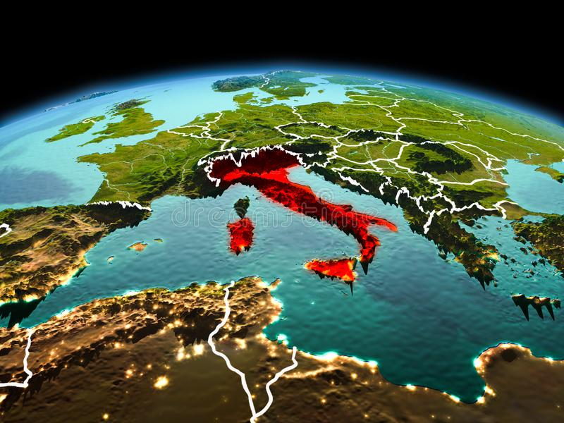 Italy on planet Earth in space. Morning above Italy highlighted in red on model of planet Earth in space with visible border lines and city lights. 3D stock image