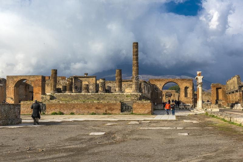 Archaeological ruin of ancient Roman city, Pompeii, was destroyed by Eruption of Vesuvius, volcano nearby city in Pompeii royalty free stock photo