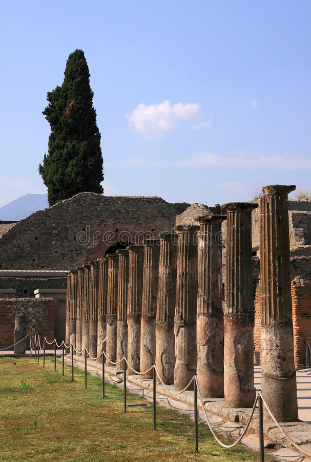 Italy Pompeii ruins. Italy Naples Pompeii - columns in the ruins of the ancient Roman city destroyed by the eruption of the volcano Vesuvius - UNESCO World stock photos