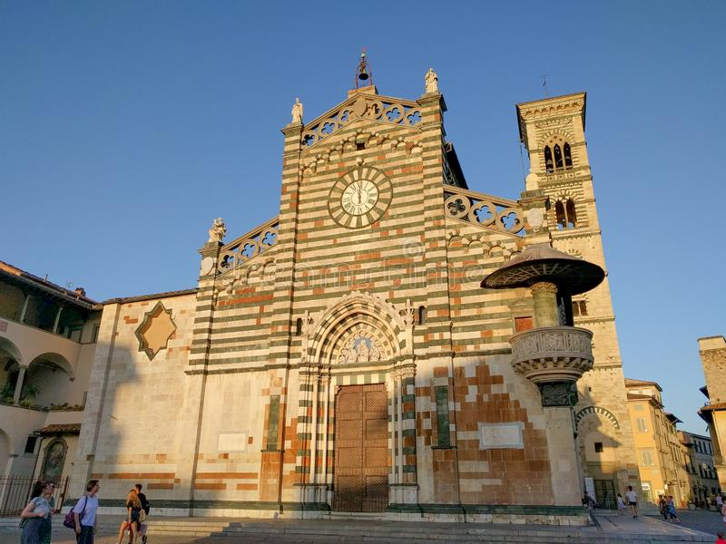 Saint Stephen`s Cathedral or Duomo di Prato at sunset light, Tuscany, Italy royalty free stock images
