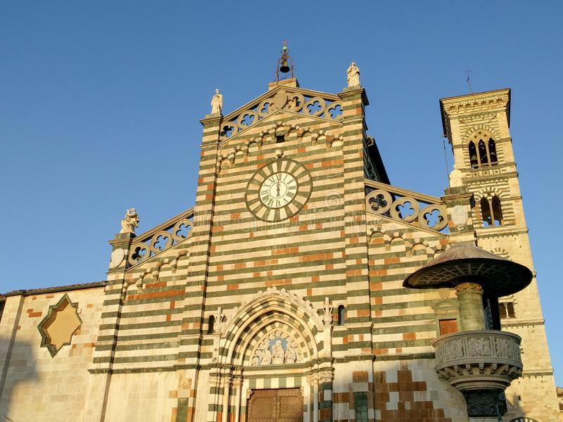 Upper facade of Saint Stephen`s Cathedral. Prato, Tuscany, Italy royalty free stock photography