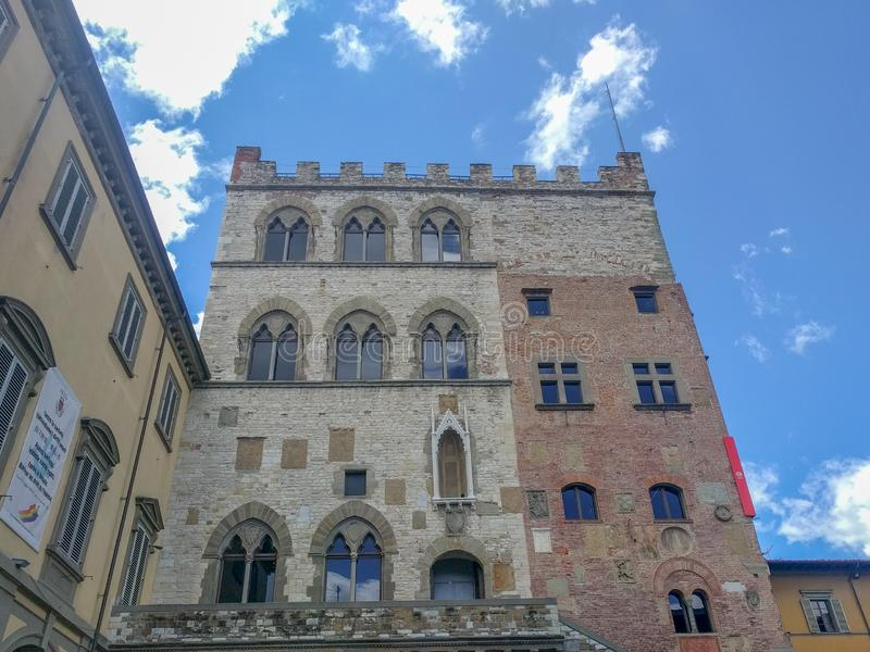 Palazzo Pretorio in Prato in a sunny day, Tuscany, Italy royalty free stock images