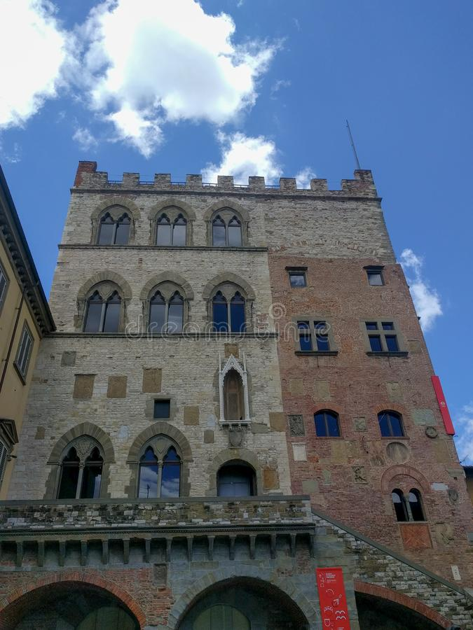 Palazzo Pretorio in Prato in a sunny day, Tuscany, Italy royalty free stock photos
