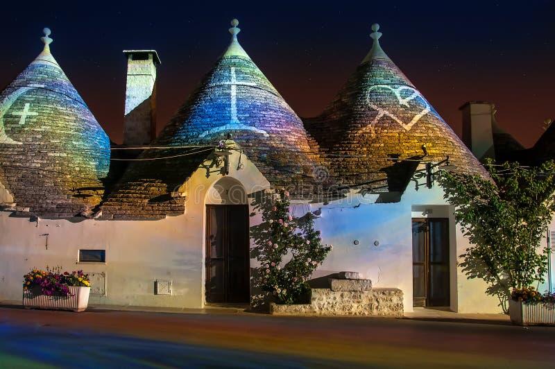 Italy Puglia Trulli Alberobello Night. Trulli of Alberobello - Puglia - Italy royalty free stock photo
