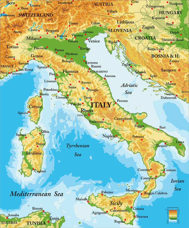 Italy relief map stock vector Illustration of austria 83745292