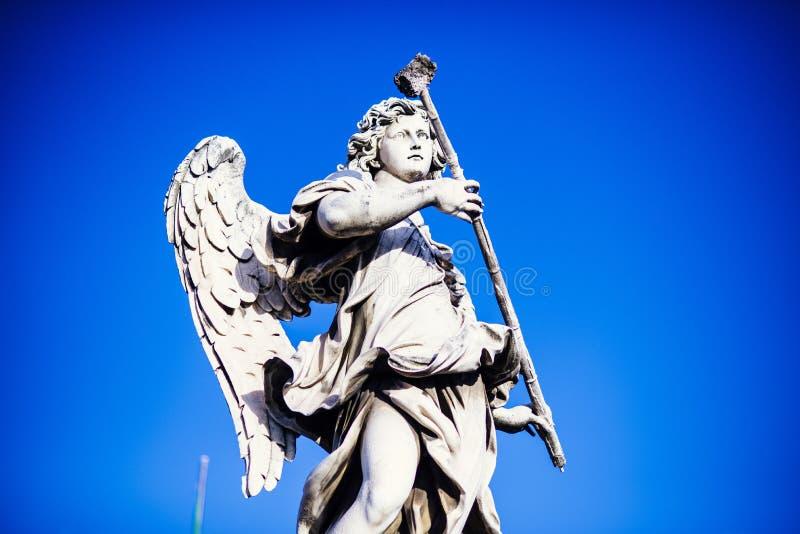 Italy, Rome, Castel Sant`Angelo, statue of Angelo with the spong. E, sculptor Antonio Giorgetti, inscription `Potaverunt me vinegar stock images