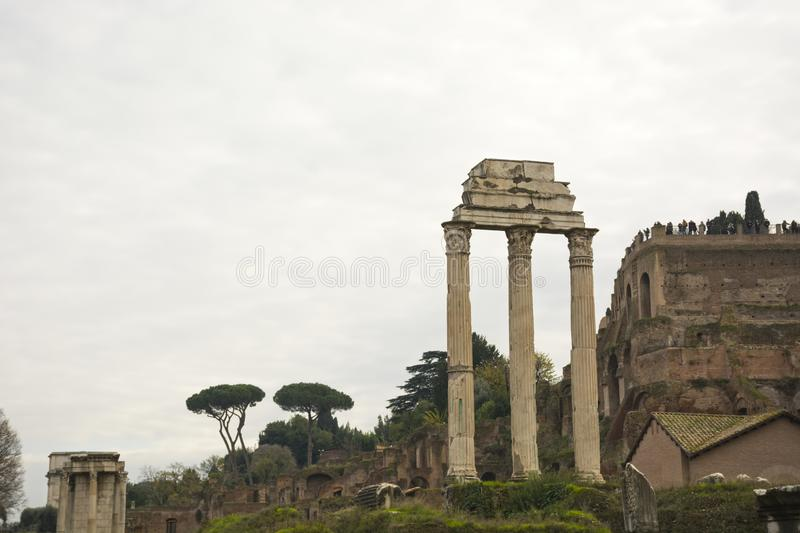 Italy, Rome - December 10, 2018. Roman Forum ruins in Rome, Italy. Italian ancient buildings and landmarks stock photos