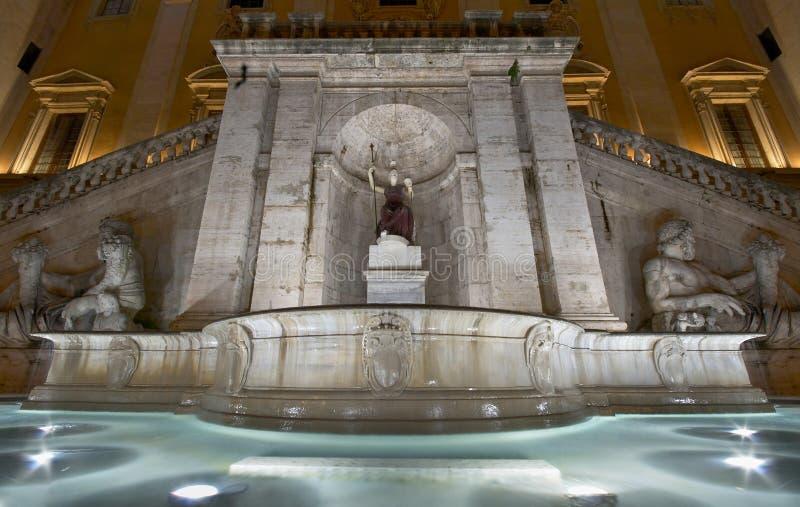Italy. Rome. Fountain Fontana della Dea Roma. Square Piazza del Campidoglio royalty free stock images