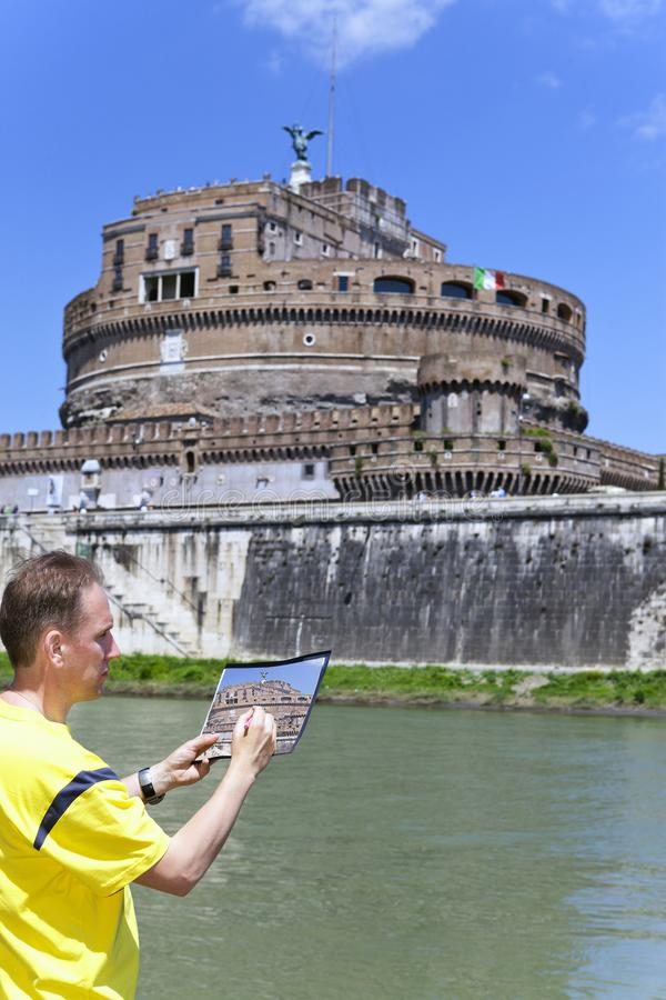 Italy. Rome. The man artist draws the Castel Sant Angelo stock photography