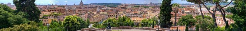 italy rome Panorama- jätte- sikt av stadshorisont från höga Pincio arkivfoto