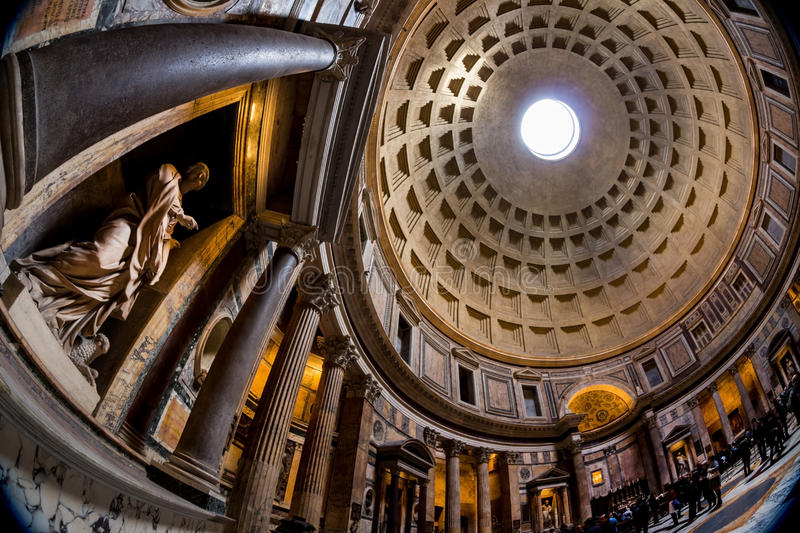 Italy, rome, pantheon. Interior shot of antique dome stock photo