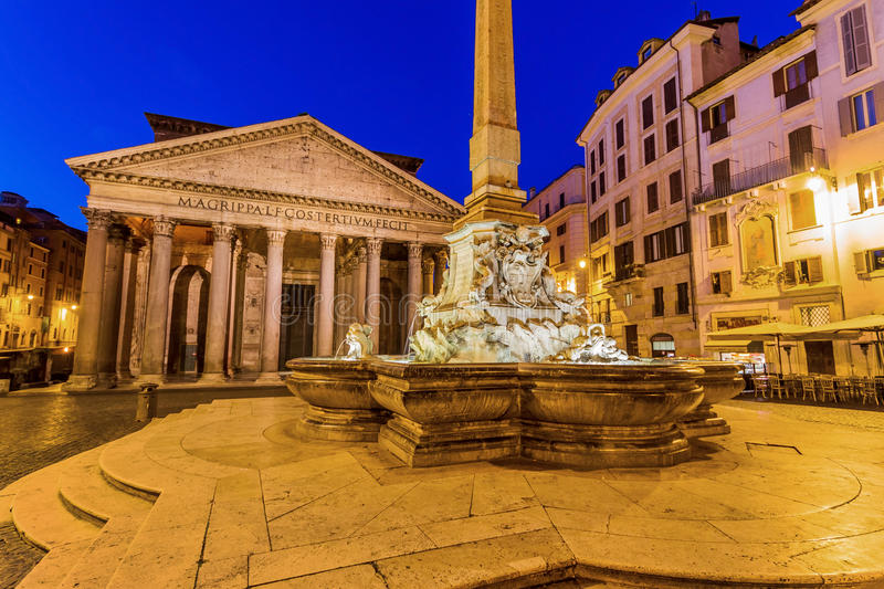 Italy, rome, pantheon. Night scene with fountain royalty free stock images
