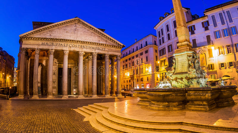 Italy, rome, pantheon. Night scene with fountain royalty free stock photography