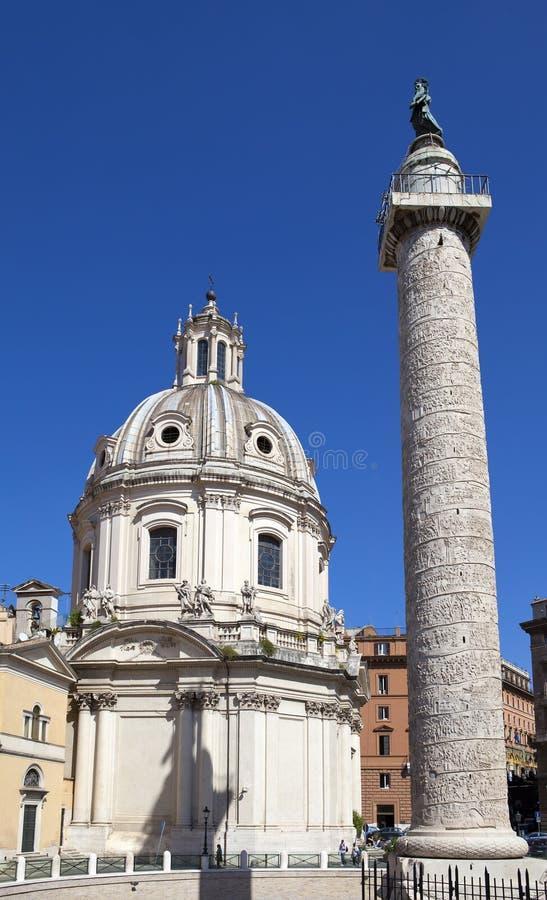 Italy. Rome. Trojan column and churches of Santa Maria di Loreto.  royalty free stock images