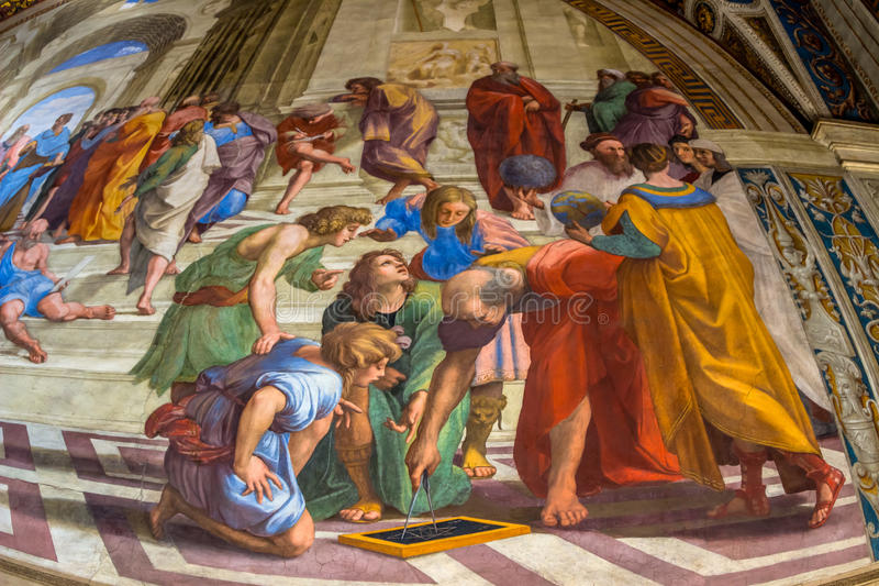 Italy, rome, vatican museums. Italy, rome, vatican museum, raphael's rooms. stanza della segnatura royalty free stock images