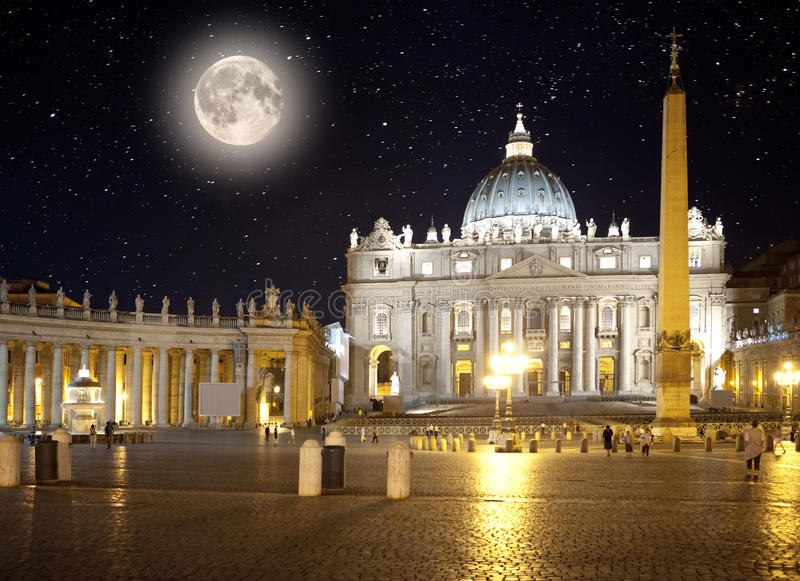 Italy. Rome. Vatican. Saint Peter's Square at night.  stock photo