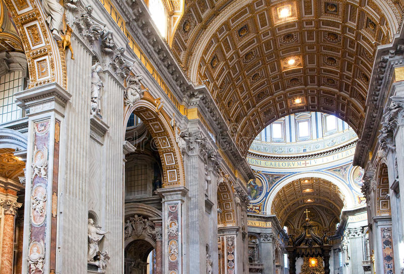 Italy.Rome.Vatican.St Peter s Basilica.Indoor view. Italy. Rome. Vatican. St Peter's Basilica. Indoor view.Interior stock images