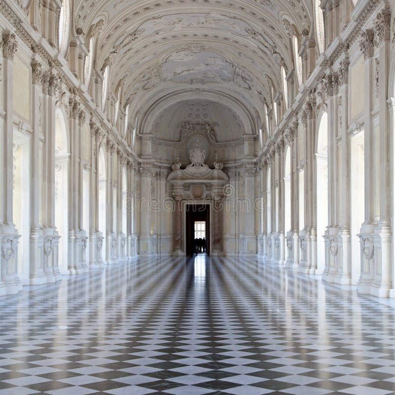 Italy - Royal Palace: Galleria di Diana, Venaria. View of Galleria di Diana in Venaria Royal Palace, close to Torino, Piemonte region royalty free stock photos
