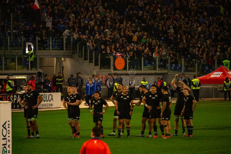Rugby Cattolica match Italy - All Black. royalty free stock image