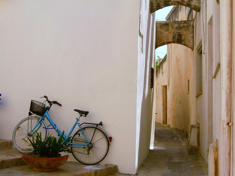 Italy, Salento: Bicycle in old Otranto. stock image