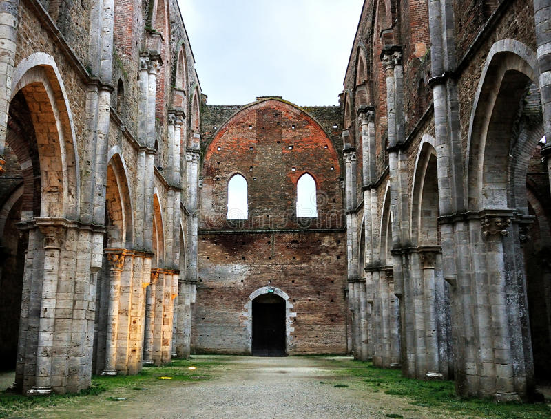 Italy San Galgano abbey ruins. The Abbey of Saint Galgano was a Cistercian Monastery found in the valley of the river Merse between the towns of Chiusdino and stock photos