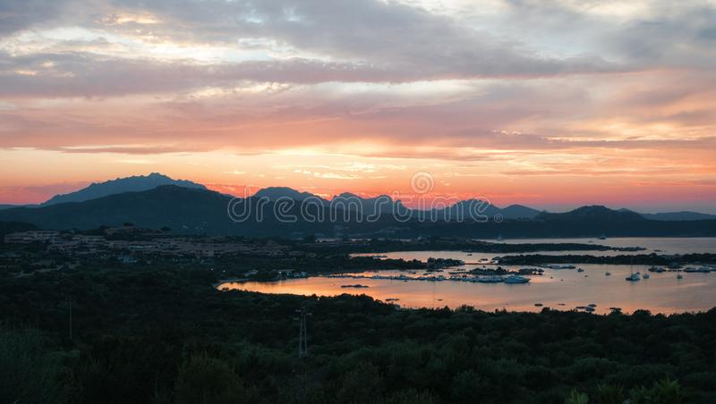 SARDINIA LANDSCAPE GULF OF MARINELLA AT SUNSET SARDEGNA royalty free stock photo