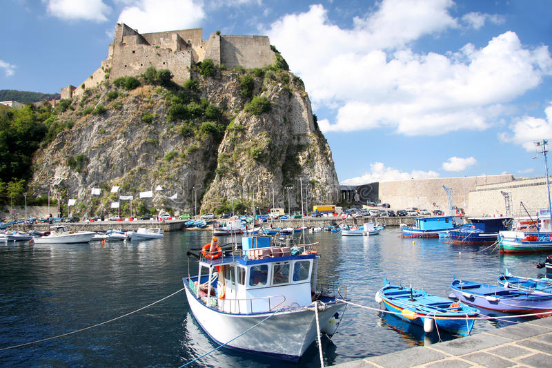 Italy.Scilla Castle with harbor, Calabria royalty free stock photography