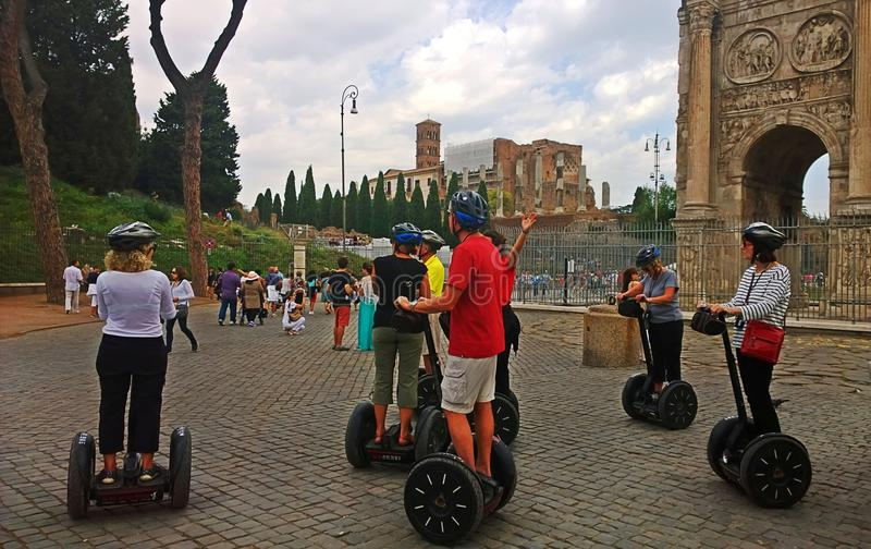 Italy.The Segway tour in Rome. royalty free stock photos