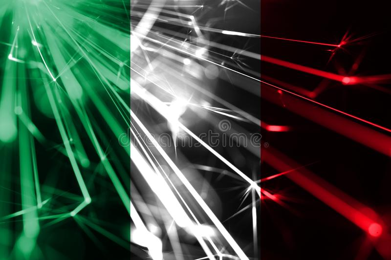 Italy shining fireworks sparkling flag. New Year 2019 and Christmas futuristic shiny party concept flag. Italy shining fireworks sparkling flag. New Year 2019 vector illustration