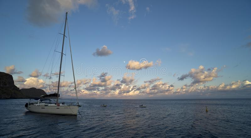 Italy Sicily Aeolian Islands, Alicudi Island, the bay at sunset royalty free stock images