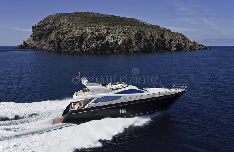 Italy, Sicily, aerial view of luxury yacht stock photography