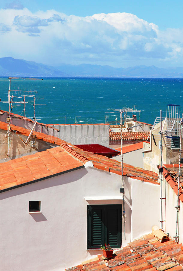 Italy. Sicily island . Cefalu. Roofs. Italy. Sicily island . Province of Palermo. View of Cefalu. Roofs stock images