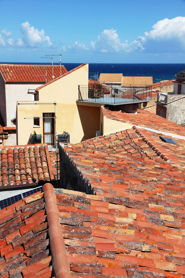 Italy. Sicily island . Cefalu. Roofs. Italy. Sicily island . View of Cefalu. Roofs royalty free stock photo