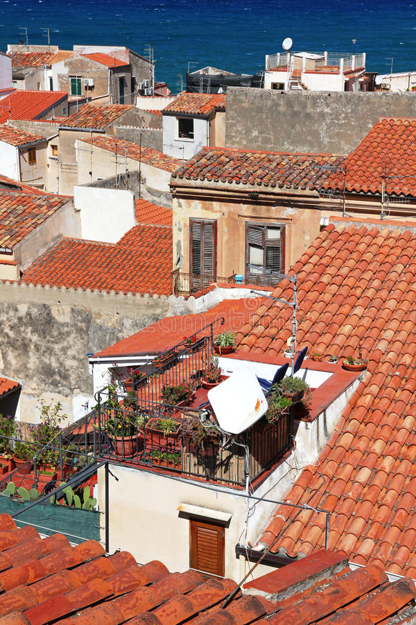 Italy. Sicily island . Cefalu. Roofs. Italy. Sicily island . View of Cefalu. Roofs stock photo