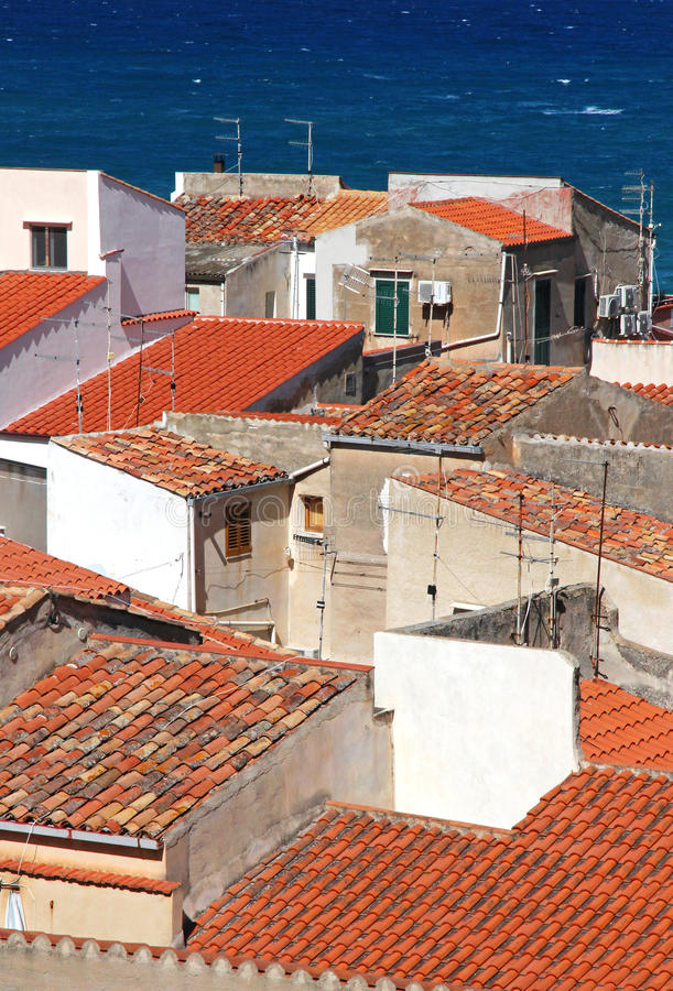 Italy. Sicily island . Province of Palermo. Cefalu. Roofs. Italy. Sicily island . Province of Palermo. View of Cefalu. Roofs stock photography